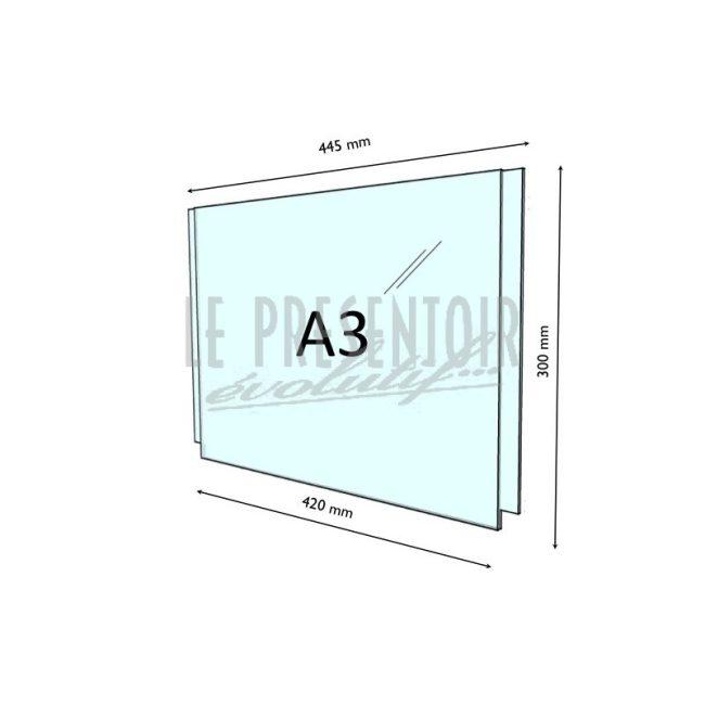 Porte Affiche Plexi 3 mm A3 Horizontal